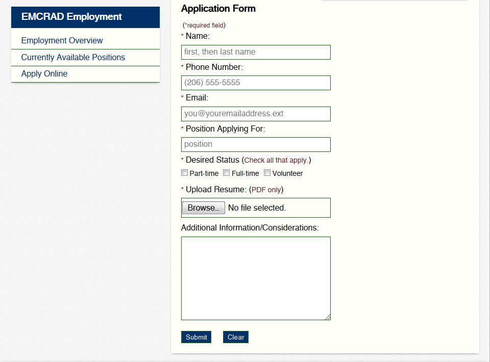 Image of emcrad.com Employment Application Page