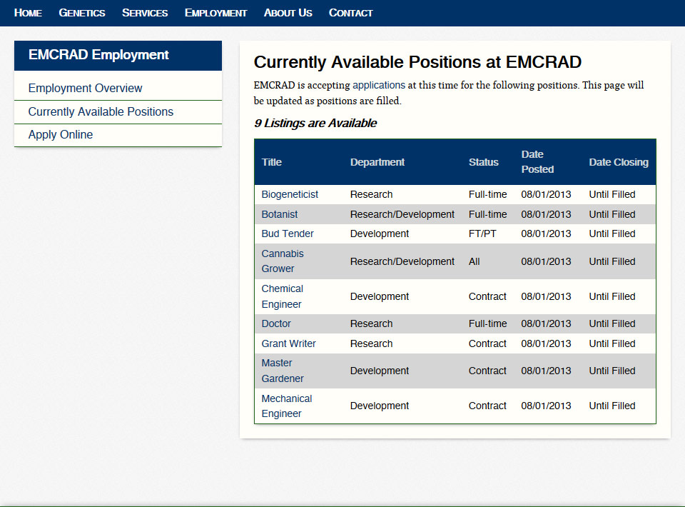Image of emcrad.com Employment Listings Page