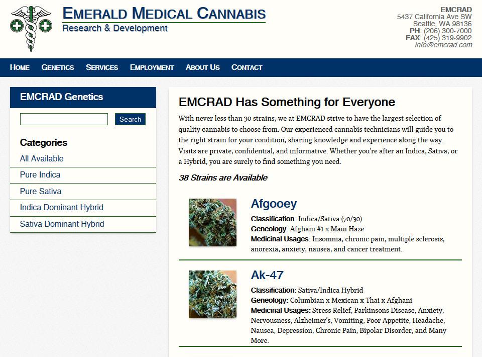 Image of emcrad.com Genetics Database Page