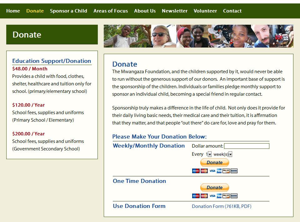 Image of mwangazafoundation.org Donation Form