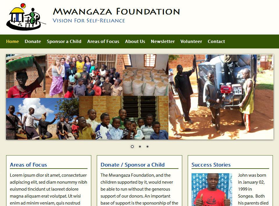 Image of mwangazafoundation.org Home Page