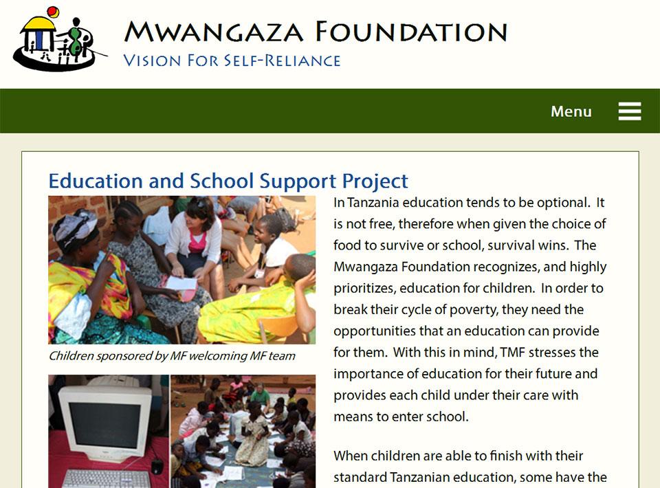 Image of mwangazafoundation.org Projects Page