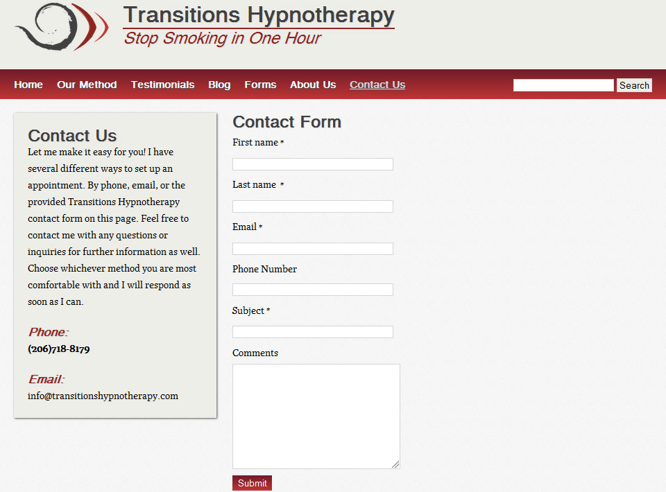 Image of Transitions Hypnotherapy Contact Page