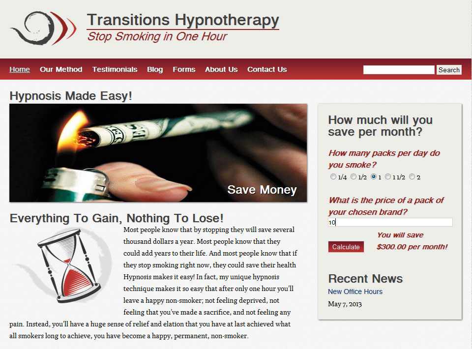 Image of Transitions Hypnotherapy Home Page