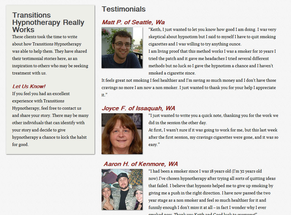 Image of Transitions Hypnotherapy Testimonials Page